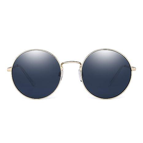 9f715ff742f87 JM Retro Redondas Gafas de Sol Metal Plano Espejo Círculo Steampunk Anteojos  Mujer(Dorado Gris)  Amazon.es  Ropa y accesorios