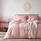 queen quilt solid pink - YEVEM Washed Cotton Full Queen 3 Piece Solid Coral Pink Duvet Cover Set with Pom Pom Zipper Closure Simple Bedding Set(1 Comforter Cover 2 Pillowcases)