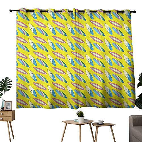Surfboard Grommet Soft Darkening Curtains Summertime Activities Hobby Fun Leisure Time Theme Beach Surfing Youth Privacy Assured Window Treatment Yellow Pink Blue W63 x L63 ()