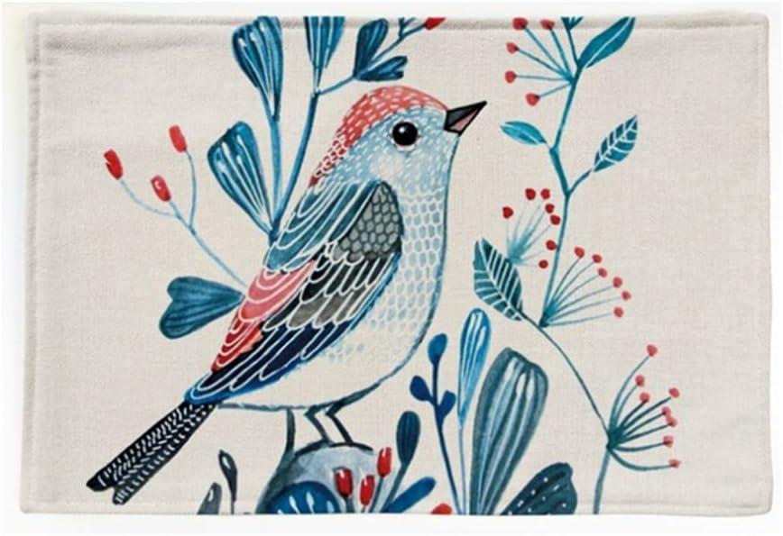 JFCUICAN Manteles Individuales 4 UNIDS/Lote Tela Bordada de Pájaro Lino Algodón Lino Restaurante Toalla de Té Tazón Taza Mantel Individual (Color : Twin Birds, Size : 44 × 28CM)