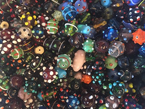 Glass Beads Medium Assorted (Cocoas's Beads choice of Glass Bumpy Dots or Polka Dots, Millefiori, Fish Lamp Work Mixed, Assorted, Variety of Colors,Shapes, Sizes, 100 Grams, Jewelry Making, (Bump Dots 8-20mm (Small -Medium) ))