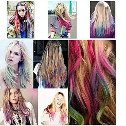 Temporary Hair Coloring Chalk, Color Chalk for Hair, Cosplay Temporary Hair Dye Color Tong,hair Chalk for One Time Use (Blue) by Minalo (Image #7)