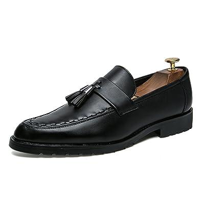 LYZGF Hommes Jeunes Saisons Mode Décontractée Chaussures En Cuir Pointu,Black-39