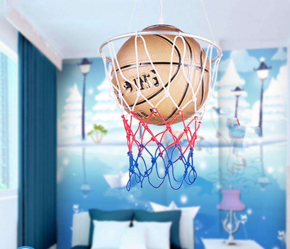 YMXJB L/ámpara colgante de creativo baloncesto tipo colgante luz ahorro ojo protecci/ón l/ámparas infantiles sala de estudio Kinder 220V warm light