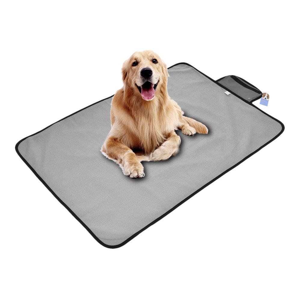 Awtang Dog Waterproof Blanket Foldable Pet Mat Outdoor Portable Dog Mat Rainproof Blanket Soft Pet Cat Bed Mat Cushion Gray M