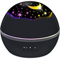 Kids Night Light Projector - Star/Ocean with Fish Dolphin Shark All-in-one Light Projector for Kids, Colorful Rotating Projection Night Light Gift for Boys Girls (Black)