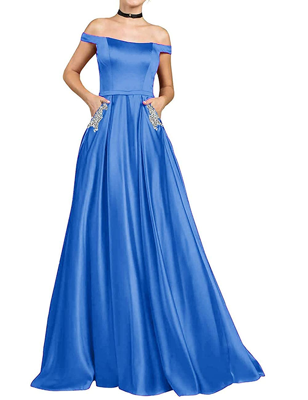 bluee JAEDEN Prom Dresses Long Formal Evening Gowns with Pocket Off The Shoulder Prom Dress A line Evening Dresses