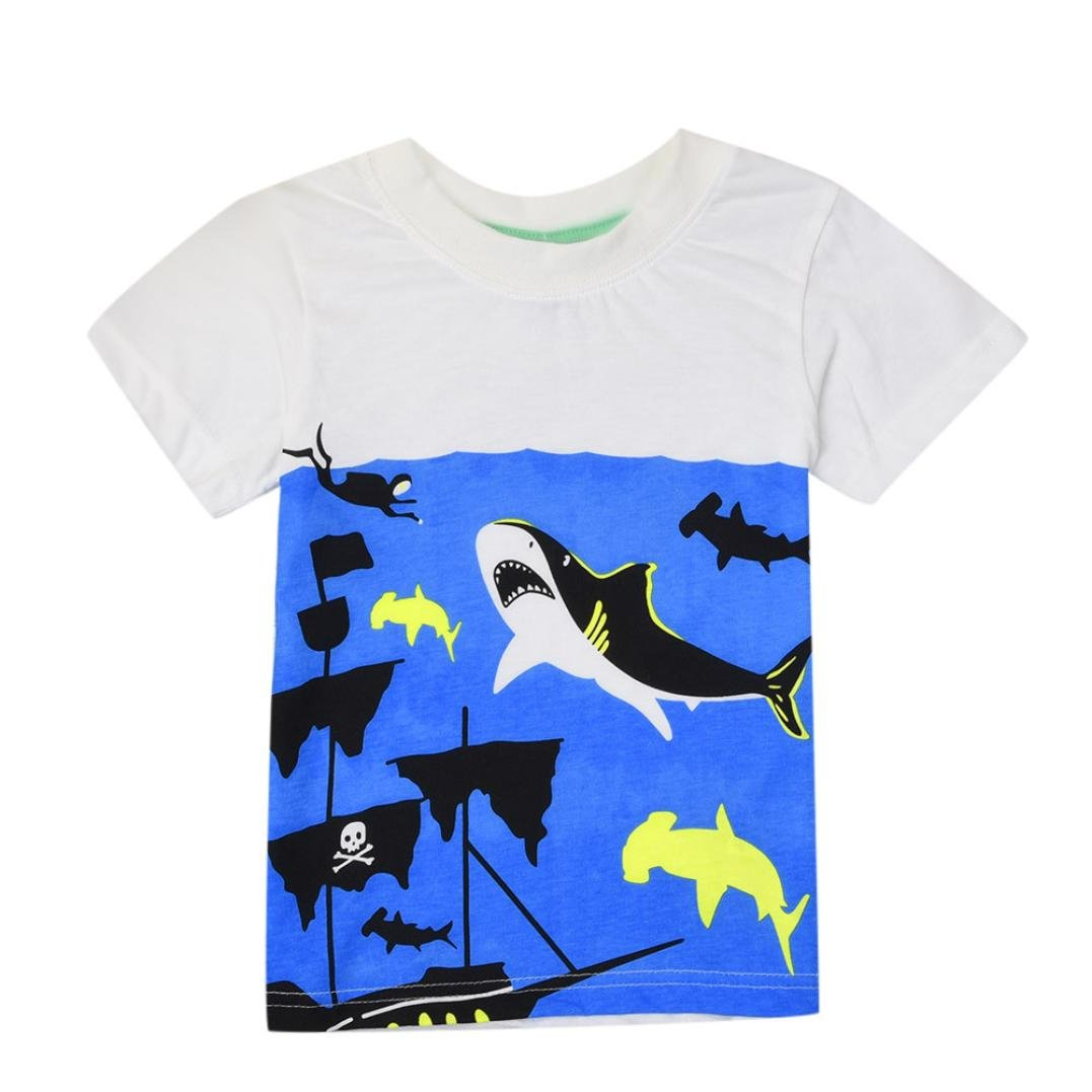 WARMSHOP Boys Summer Clothing Shark Print Short Sleeve Cartoon Tops T-Shirt Funny Round Collar Blouse Tees