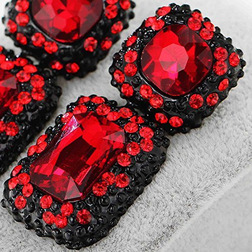 Women's Fashion Earrings Red Rhinestone Glass Black Earring Sweet Metal with Gems Ear Dangle Earrings For Women Girls