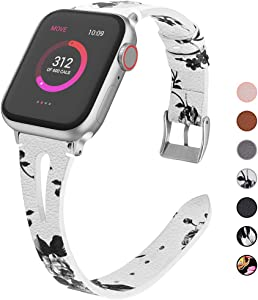 OULUOQI Compatible with Apple Watch Band 38mm 40mm 42mm 44mm Women, 2020 Slim Soft Leather Band Replacement for iWatch Bands SE Series 6/5/4/3/2/1