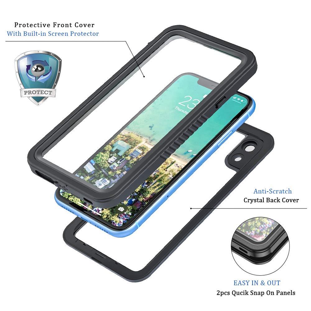 Lanhiem Funda Impermeable iPhone X Protecci/ón de 360 Grados Carcasa Sumergible Resistente Al Agua IP68 Certificado Carcasa para iPhone XS con Protector de Pantalla Incorporado,Negro
