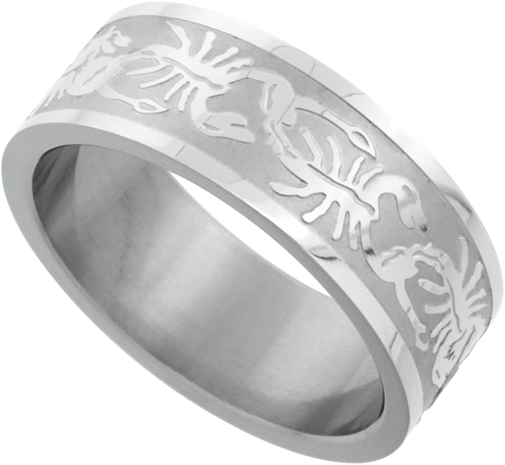 Surgical Stainless Steel 8mm Scorpion Wedding Band Ring Erched Pattern Matte Finish, Sizes 8-14