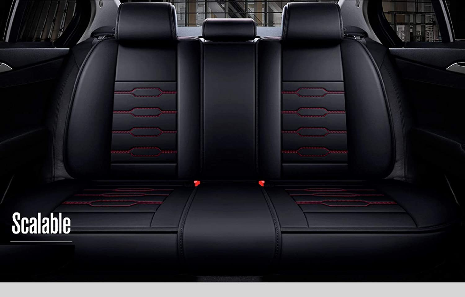 Black-red Skysep Fashion Style car seat Cover,Winter Leather Seats Car,PU Leather and 3D Breathable Fabric Fully Surrounded Unisex Seat