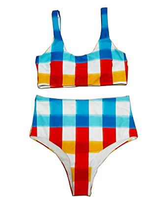 1e15da4f3ed Amazon.com: High Waisted Bikini Gingham Vintage Swimsuits for Women Bathing  Suits: Clothing