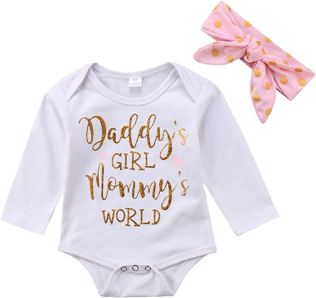 Daddys Girl Mommys World Funny Shower Gift Girls Youth Newborn Infant Rompers