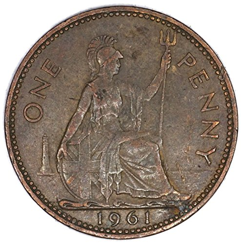 1961 UK Elizabeth II British Bronze One Penny Good