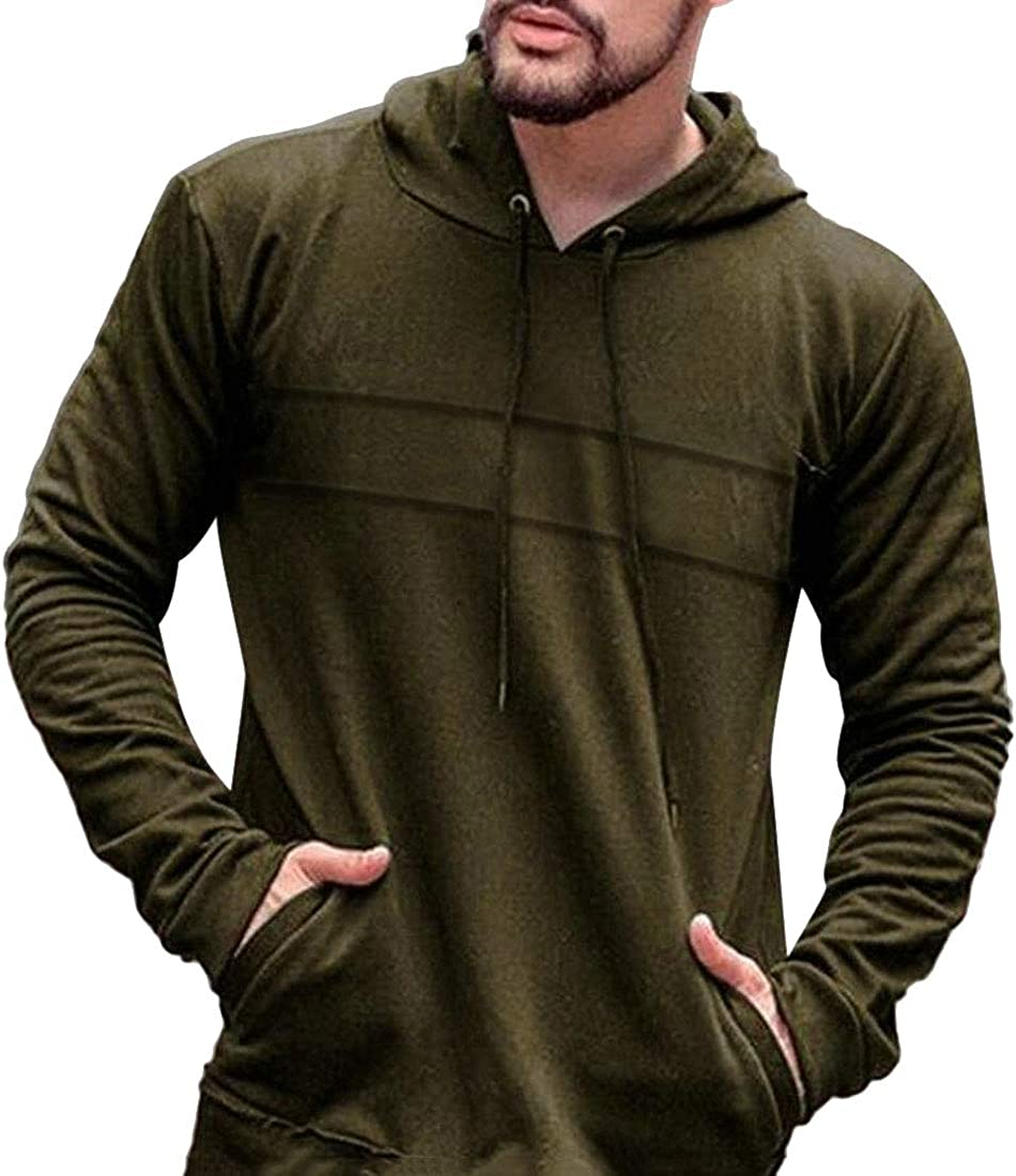 WSPLYSPJY Mens Solid Color Hoodie Long Sleeve Pullover Sweatshirts with Pocket