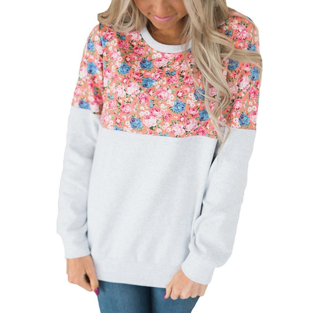 Women Blouse,Ankola 2018 Women Shirt Long Sleeve Floral Print Patchwork T-Shirt Tops Sweatshirt (M, White)