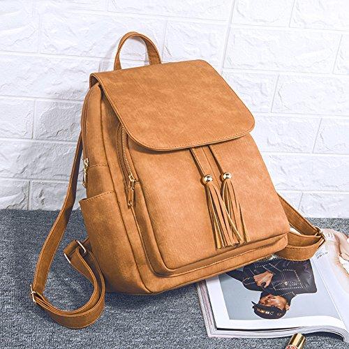 Fashion Shoulder Bag Rucksack PU Leather Women Girls Ladies Backpack Travel bag (Brown) by PlasMaller (Image #1)