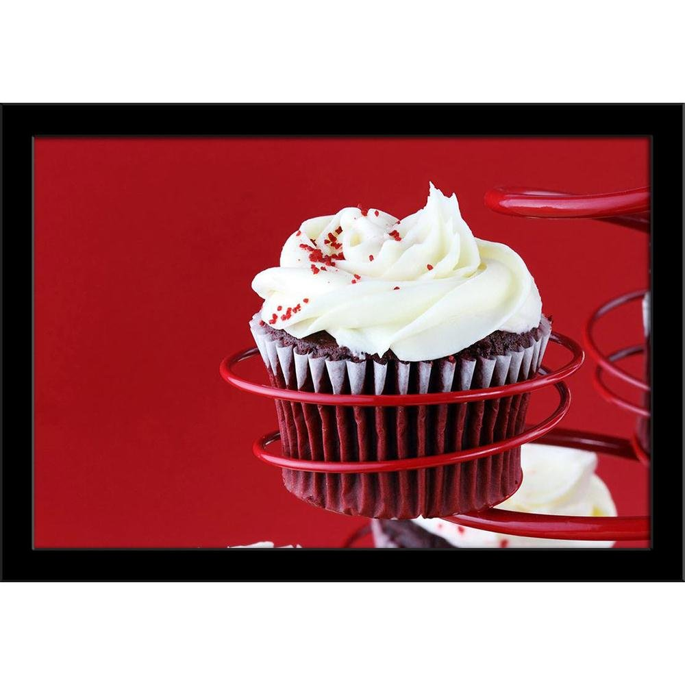 ArtzFolio Photo of Red Velvet Cupcake Poster Black Frame with Glass 19.5 X 13.5Inch by ArtzFolio