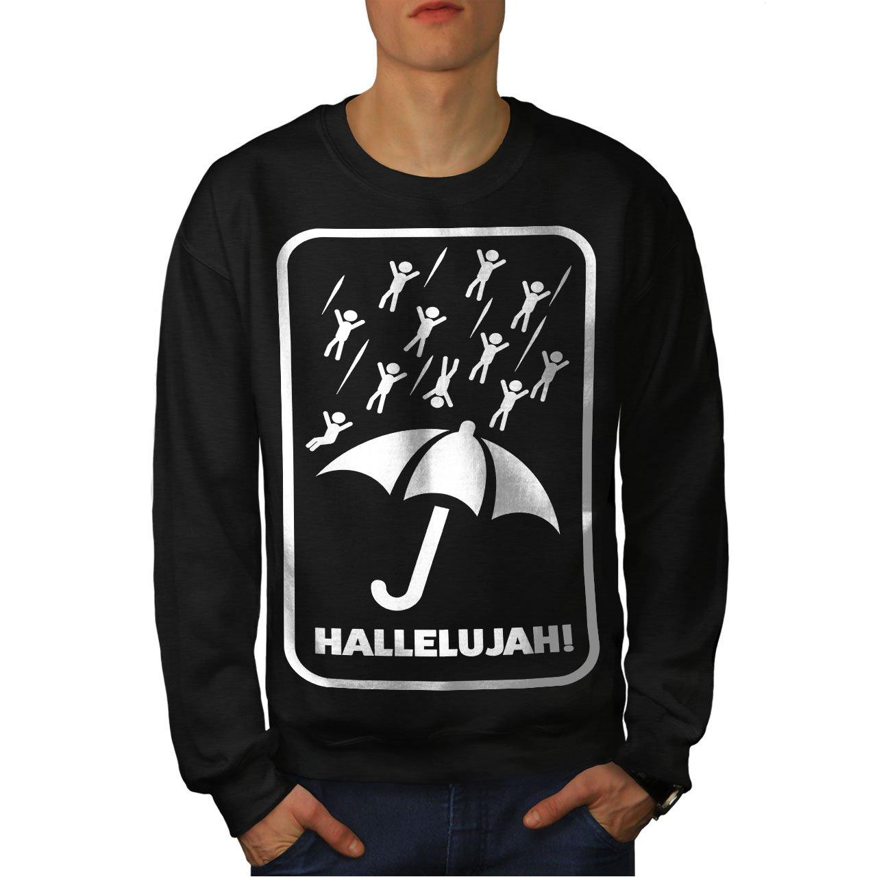 wellcoda Umbrella Rain Quote Funny Mens Sweatshirt Men Casual Jumper