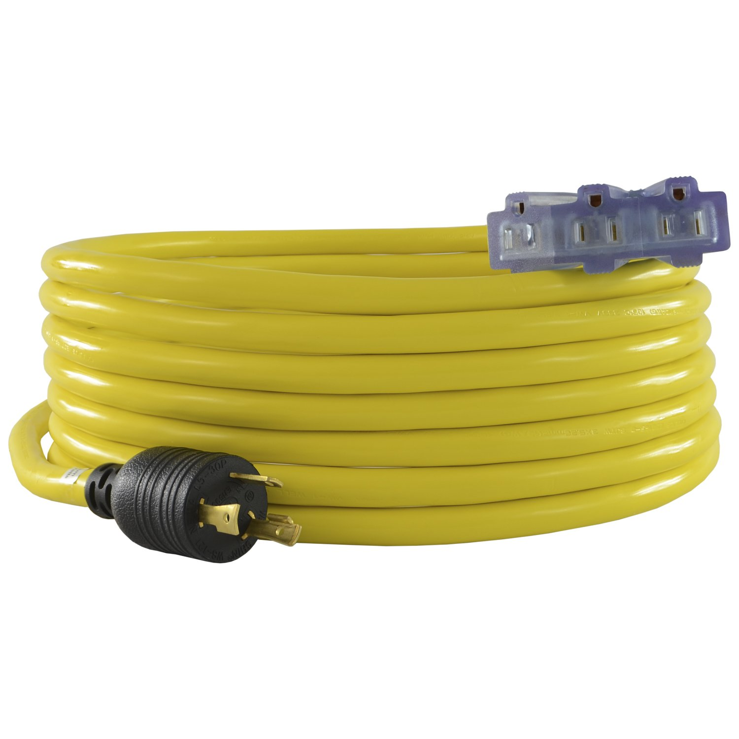 Conntek 20311-025 25-Feet 10/3 30-Amp 125-volt L5-30P Locking Plug to Tri-outlets with Light Indicator