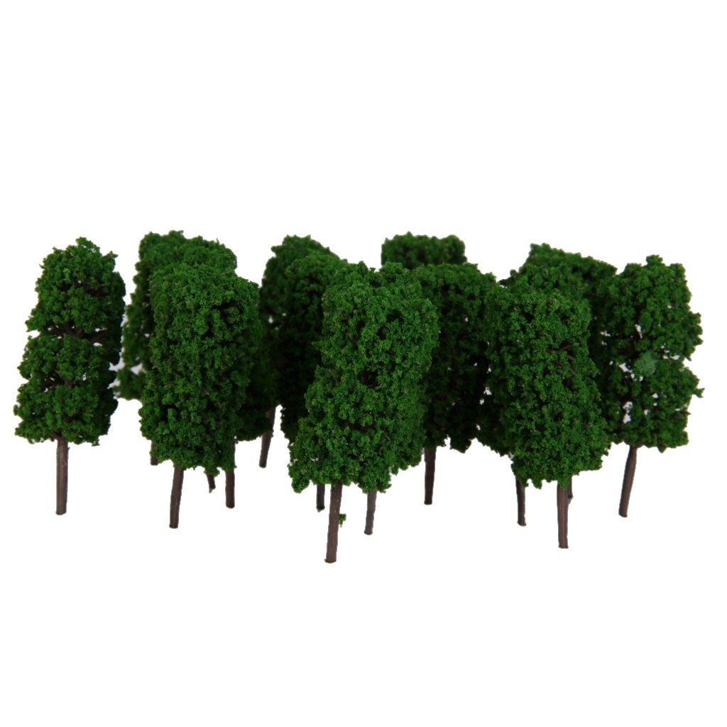 50pcs Model Railway Green Tree Train Railway Layout Wargame Scenery 1:300