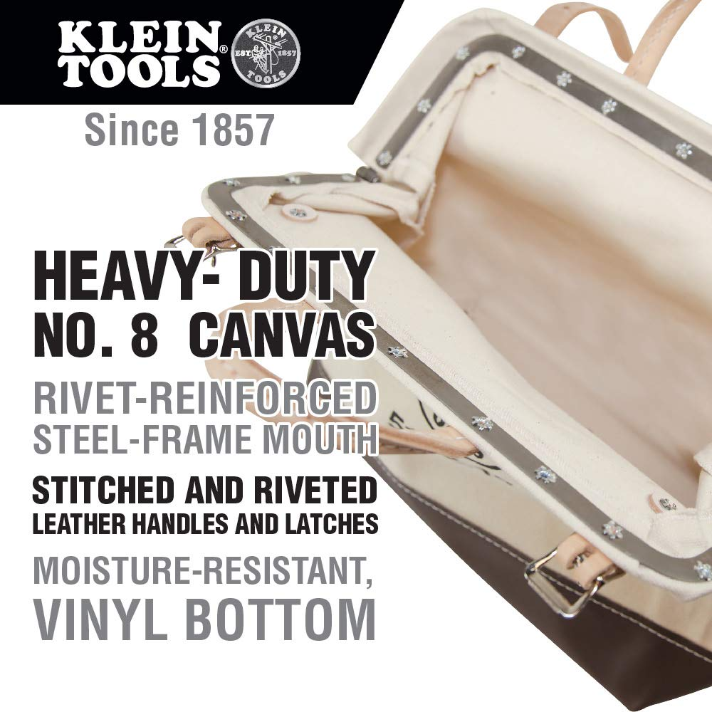 Tool Bag, Canvas Tote for Hand Tools is Heavy Duty Organizer with Steel Frame Mouth Klein Tools 5102-16 by Klein Tools (Image #2)