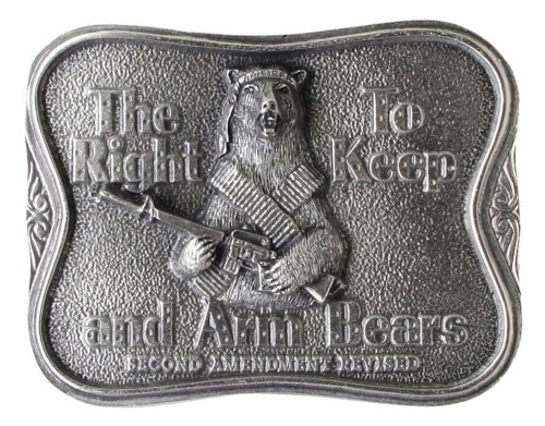 Bear Arms Belt Buckle (Right to Bear Arms 2nd Amendment Pewter Belt)