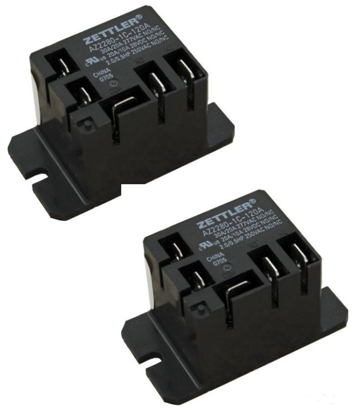 American Zettler Power Relay, SPDT, 30A, 115v, Mini, 30A SPDT 120VAC AZ2280-1C-120A( Pack of 2)