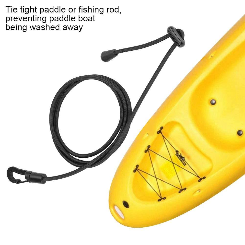 Noir Zetiling Paddle Leash , 2 Pieces Bateau de Navigation /élastique Kayak Paddle Safety Rod Leash Bateau Canne /à p/êche Pole Enroul/é Lanyard Cord Tie Rope