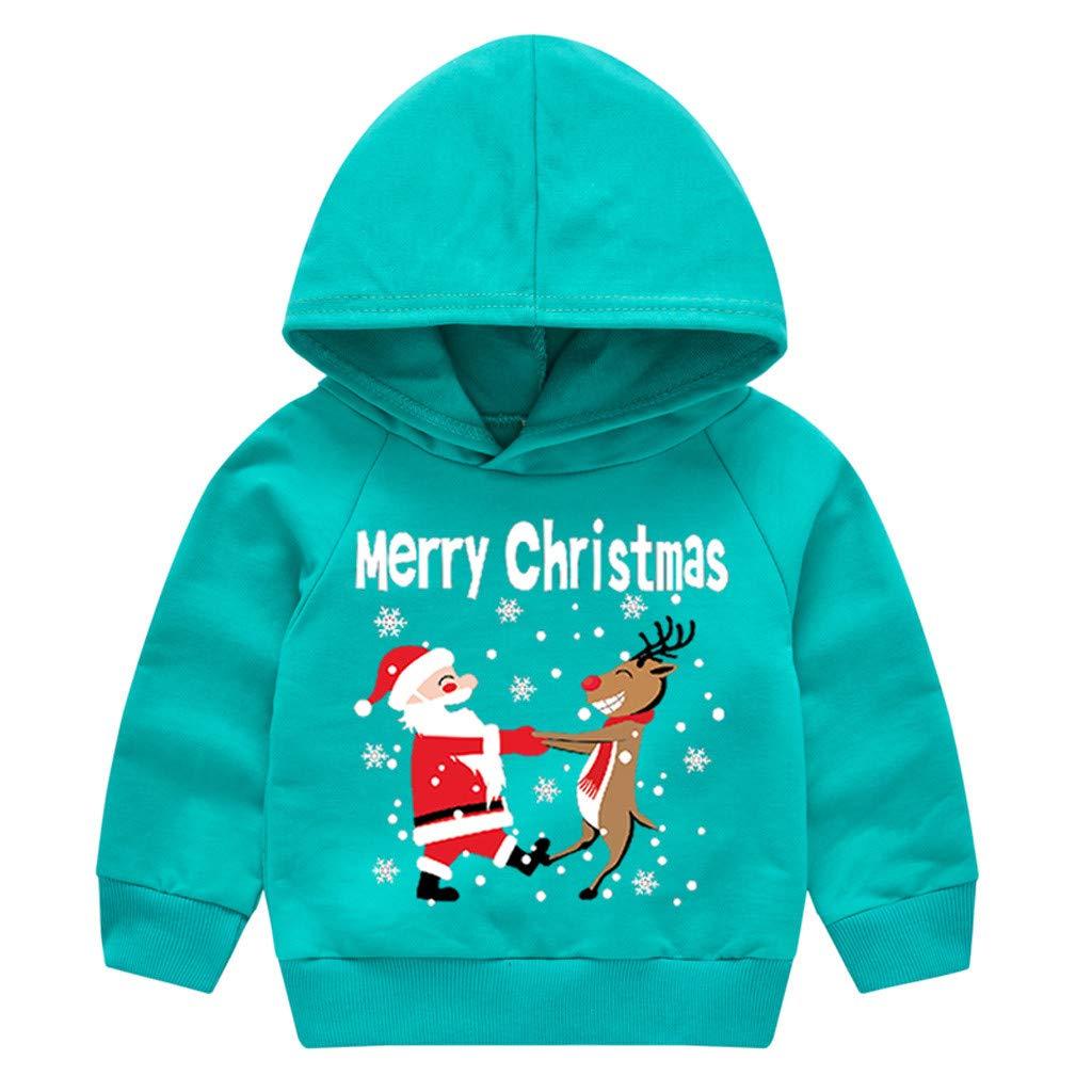WEXCV Baby Weihnachten Sweatshirt mit Kapuze Kinder M/ädchen Jungen Kleinkind Langarmshirts Cartoon Weihnachtsmuster Drucken Herbst Winter Kinderkleidung Cute Tops Beil/äufige Pullover 1-5 Jahre