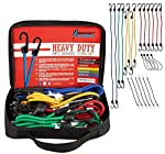 ROCKET STRAPS | 24PC Extreme Heavy Duty Bungee Cords With Hooks | Bungee Cord Set Includes | Tie Downs | Ball Bungees | Carrying Bag | 50/50 Latex & Rubber Bungee Cords For Extreme Strength
