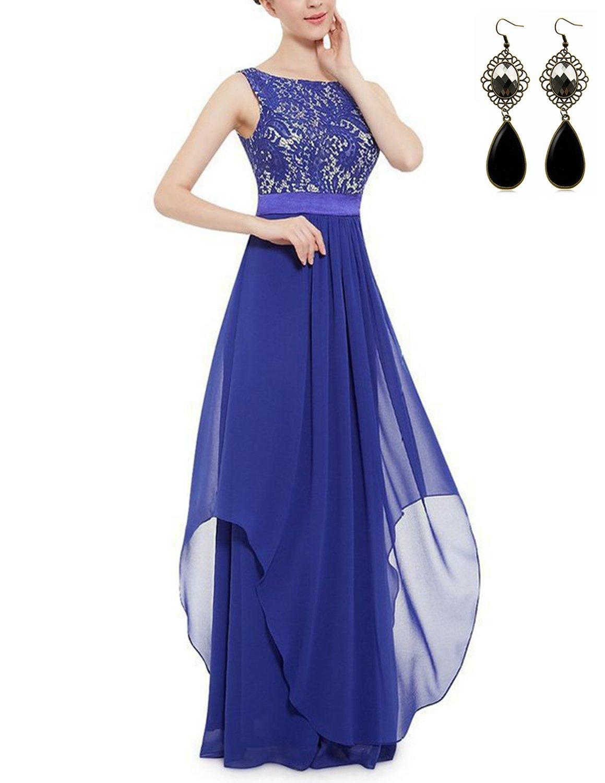 Sitengle Elegant Women Sleeveless V-Back Lace Patchwork Chiffon Long Dress Formal Banquet Evening Wedding Party Prom Dresses (M, Light Blue)