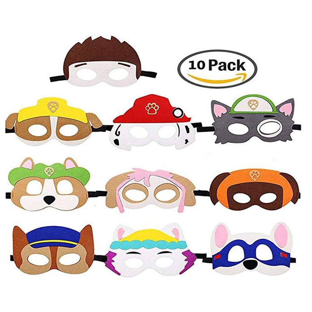 Puppy Party Birthday Masks for Paw Patrol Toys-Party Supplies for Kids (Set of 10) Baken