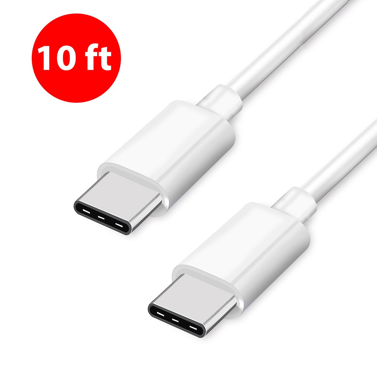 Type C USB-C to USB-C Charge Cable and Sync Cable 10 Feet (3 Meters) for MLL82AM/A Apple MacBook Pro Oneplus HP Blu Blackberry ChromeBook Samsung Nintendo Switch Nexus Phone (1 Pack, 10 Ft. (3m))