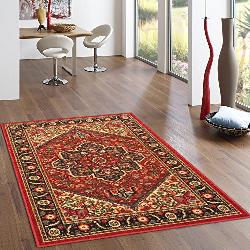Rubber Backed 2-Piece Rug SET Red Persian Medallion Area Non-Slip Rug - Rana Collection Kitchen Dining Living Hallway Bathroom Pet Entry Rugs RAN2090-2PC Medallion 5 Piece