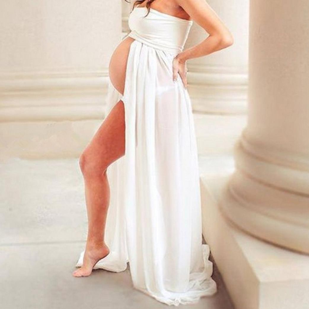 BBsmile Ropa para Mujeres Embarazadas Mujeres Embarazadas Accesorios de fotografía Sexy Vestido de Hombros Blanco/Negro: Amazon.es: Ropa y accesorios