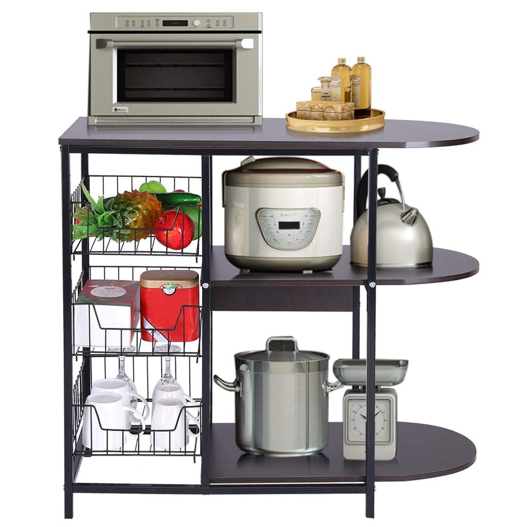 Mostbest 4 Tier Kitchen Baker's Rack, Oven Stand, Strong Metal Shelves Free Standing Shelving Utility Unit, Spice Microwave Storage Baskets Organizer Workstation by Mostbest
