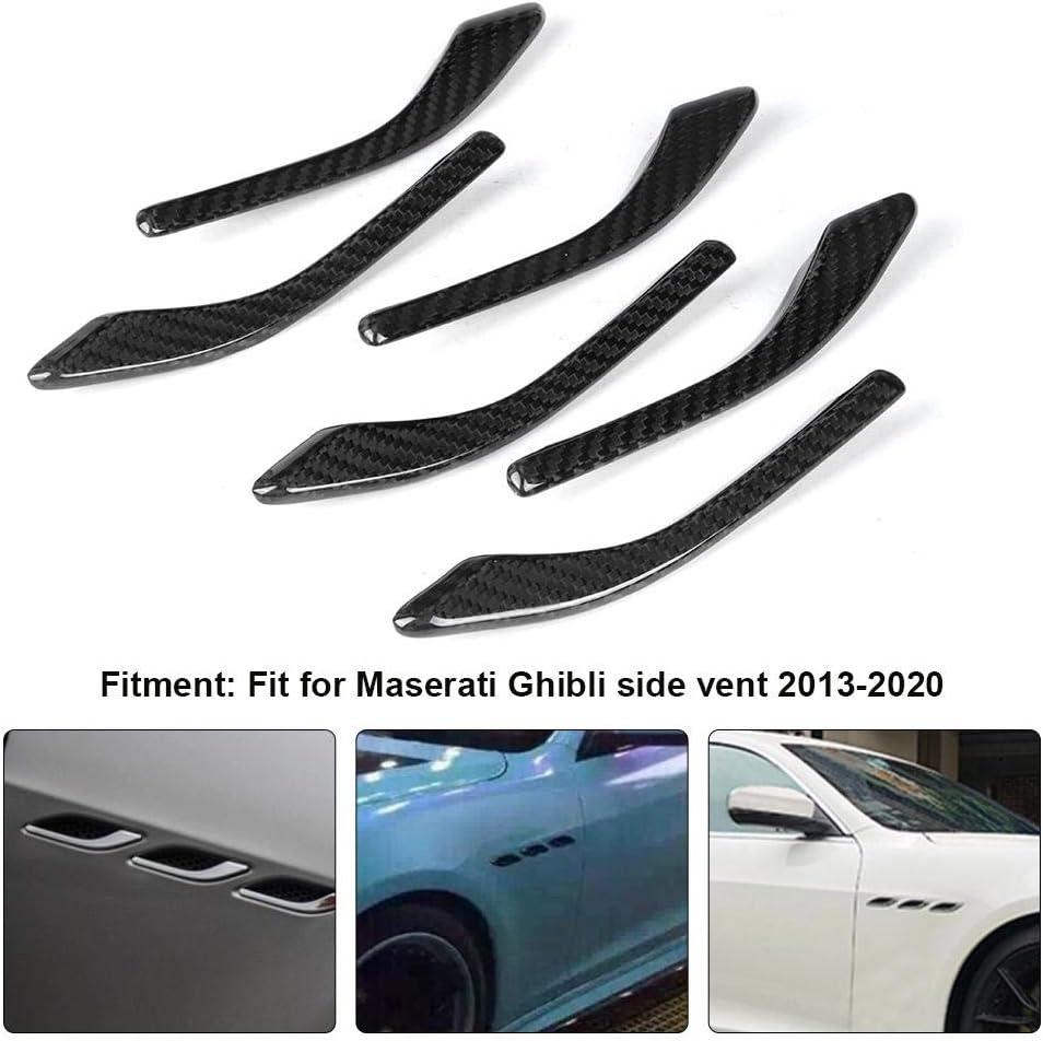 Akozon Side Air Vent Trim 6pcs Carbon Fiber Side Air Vent Fender Outlet Cover Trim for Maserati Ghibli 2013-2020