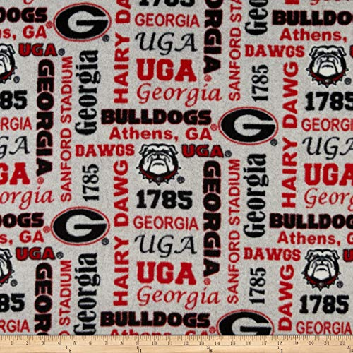 - Sykel Enterprises NCAA Fleece Georgia Heather Verbiage Fabric, Team Color, Fabric By The Yard