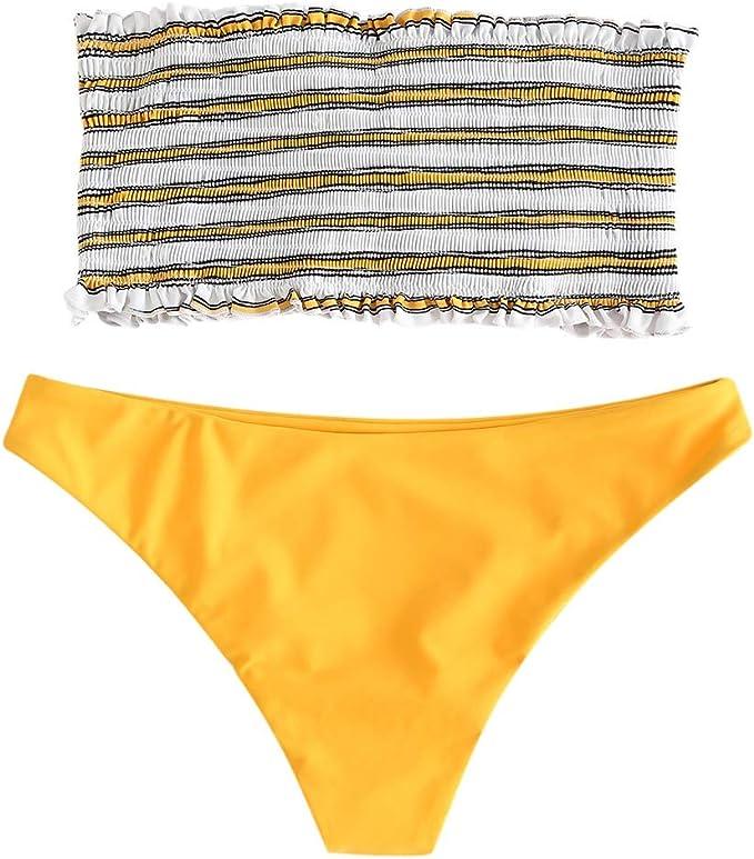 ZAFUL Damen High Cut Bandeau Bikini Set Tr/ägerlos Gerippt Bikinis Bademode