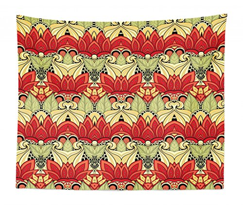 Lunarable Batik Tapestry King Size, Asian Batik Blooms Motif in Colors Ornate Nature Inspired Boho Style Floral Image, Wall Hanging Bedspread Bed Cover Wall Decor, 104 W X 88 L Inches, Red Green