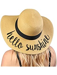 2703bd228c042 Women s Bold Cursive Embroidered Adjustable Beach Floppy Sun Hat