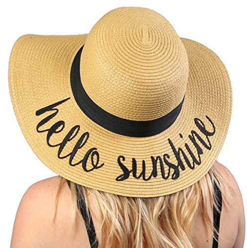 H-2017-HS Funky Junque Embroidered Sun Hat - Hello Sunshine (Hat Beach Sun Straw)