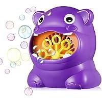 Kidsidol Máquina automática de Burbujas soplador de Forma de Hipopótamo portátil Fabricante de Burbujas Grandes Regalos para niños bebés (púrpura)
