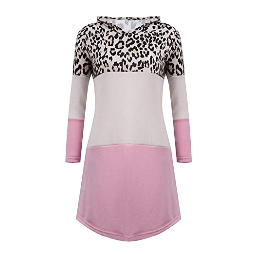 236f546d915a Zalanala Womens Leopard Printed Long Sleeve Hoodie Hooded Jumper Pockets  Casual Sweater Dress (S,
