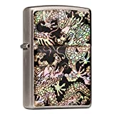 Mother of Pearl Handmade Double Dragon Design Zippo Style Black Pocket Oil Cigarette Tobacco Smoking Camping Lighter