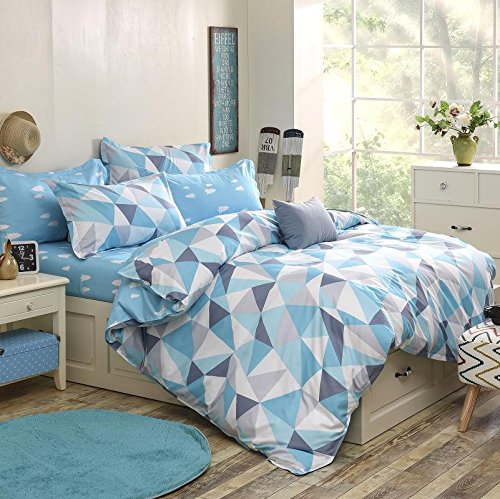 Sale!! Vaulia Microfiber Duvet Cover Sets, Printed Diamond Pattern, Reversible Color Design, Blue - ...
