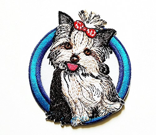 T-shirt Embroidered Shih - 3.25 x 2.9 inches.Shih Tzu Long Haired Dog Puppy Breed Embroidered Patch Embroidered DIY Patches, Cute Applique Sew Iron on Kids Craft Patch